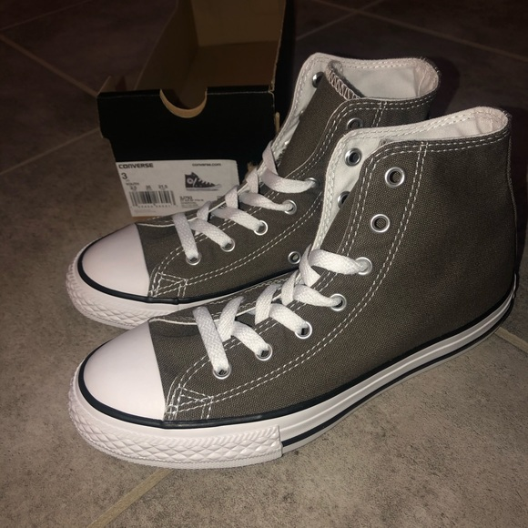 Converse All Star Hi Charcoal Gray White For Kids Unisex Size 11 to 3 New In Box